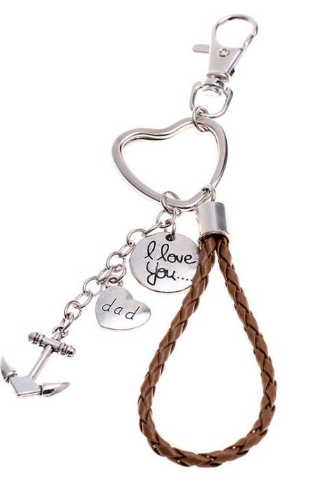 Father's day gift anchor love dad dad woven metal keychain -2PCS