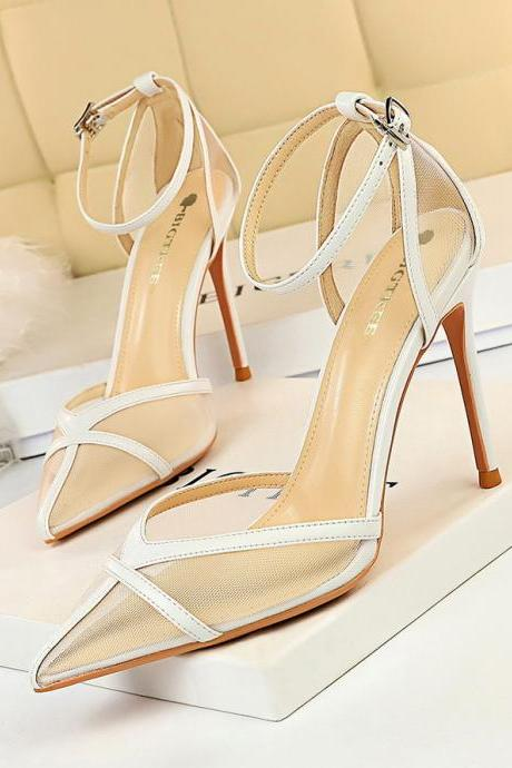 Women's high-heeled shoes with thin heels and shallow mouth pointed hollow hollow high-heeled sandals