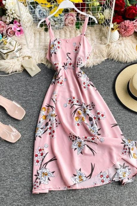 Women's French Holiday Flower Print Waist Slim Waist Elastic Dress