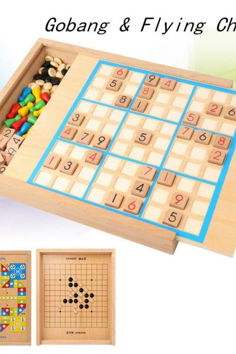 Multifunctional wooden five-in-one sudoku early learning intellectual game chess board game flying backgammon four six nine nine grid