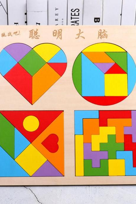 Wooden Pattern Blocks Geometric Shape Puzzles Classic Educational Toys Tangrams Set