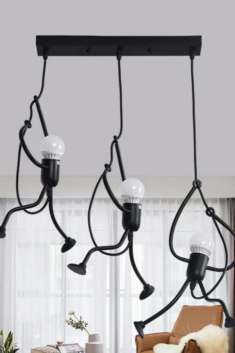 Pendant Lighting Black Modern Creative Little People Mini Adjustable Hanging Lights for Bedroom Decor Iron Cartoon Doll Chandeliers for Dining Rooms Baking Paint Finish