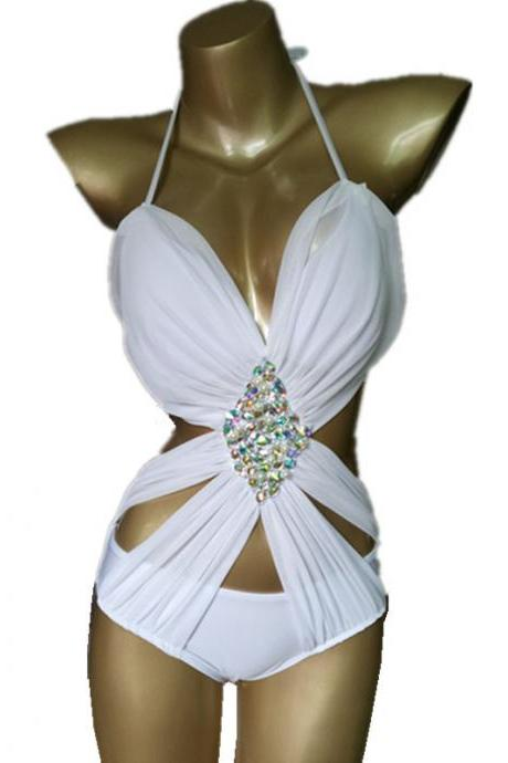 Women's swimwear hand-sewn pearl swimwear colorful crystal diamond beachwear