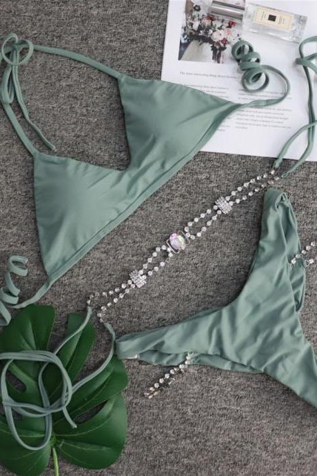Women's rhinestone swimsuit women's swimwear solid color metal chain accessories swimsuit