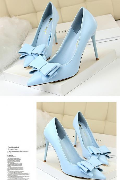 Stiletto high-heeled shoes with thin heels and thin pointed pointed candy bow women's shoes
