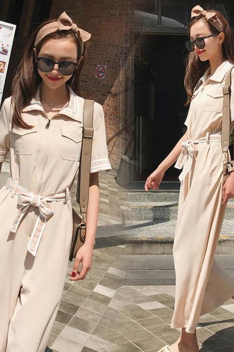 Chiffon jumpsuit high waist was thin wide leg nine points pants jumpsuit