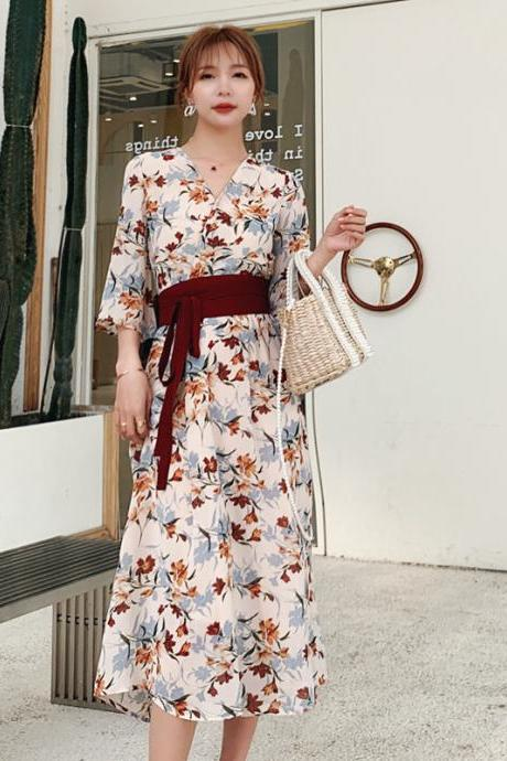 Summer new retro Hanfu floral chiffon dress
