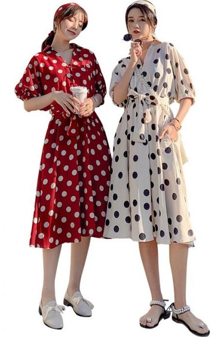 Women's French retro long skirt Yamamoto temperament super fairy niche white polka dot dress