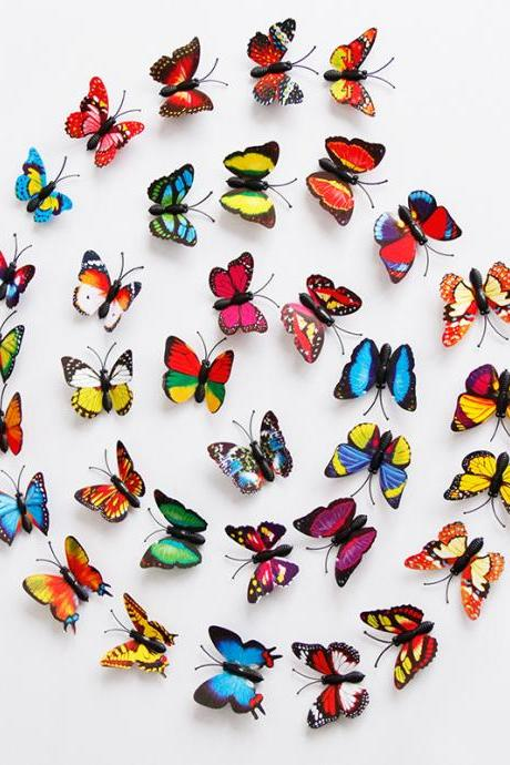 500 PCS Wall Decal Butterfly, Wall Sticker Decals for Room Home Nursery Decor 3D Stereo PCC Simulation Butterfly