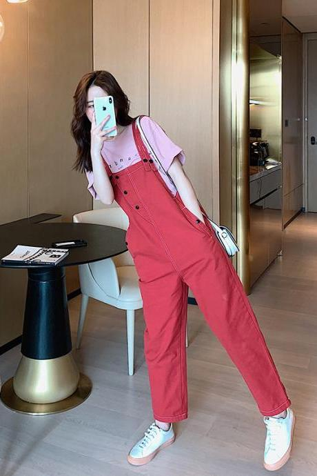 Women's khaki suspenders Korean version of loose-fitting age-reducing nine points was thin suspenders
