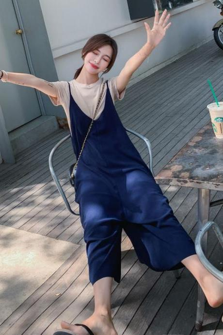 Women's new overalls two-piece suit female Korean version of loose wide-leg suspenders