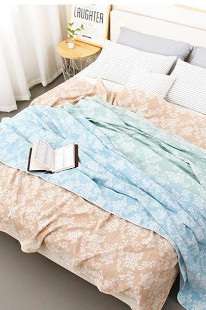 Cotton towel quilt four layer gauze single double summer soft blanket air conditioning blanket summer cool quilt