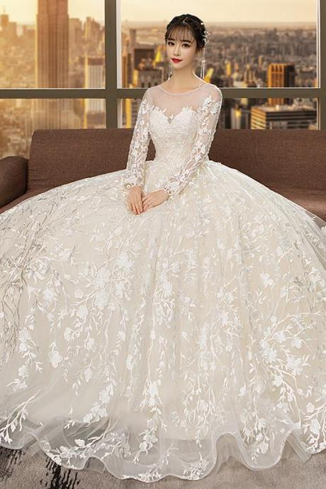 Women's wedding dress with shoulders, dreamy slim long-sleeved lace brides are thin and uniform