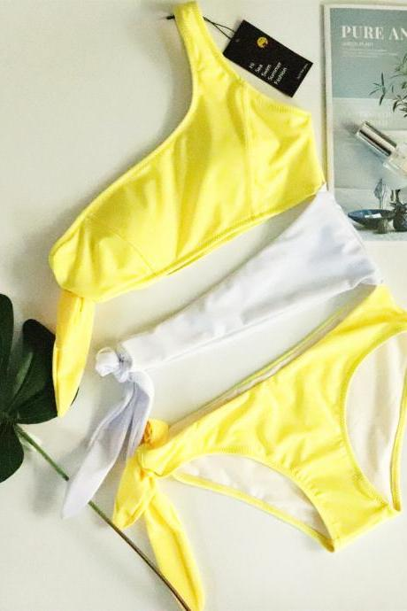 Women's swimwear yellow white knotted one-piece swimsuit sexy bikini