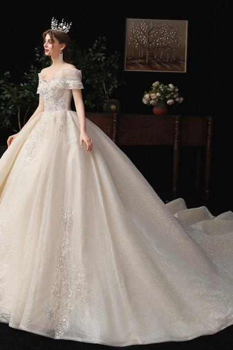 Women's wedding dress lace beaded tail wedding dress