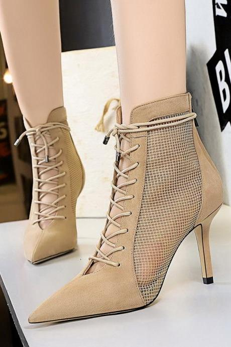 Women's high-heel pointed pointed cross strap suede pointed mesh hollow sexy nightclub lace-up booties