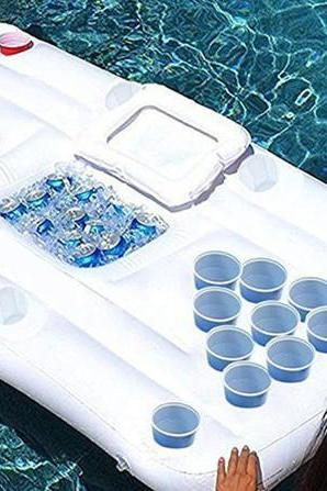 Beer Nation Inflatable Beer Pong Table with Cooler - Pool Beer Pong Pool Party Game - Floating Pong Table (Beer Pong Table) 6-Feet