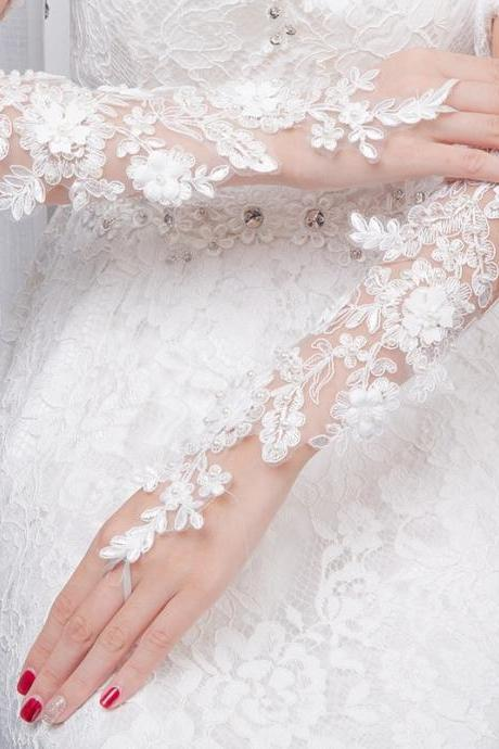 Bridal lace gloves hook finger exposed straps gloves thin lace flowers inlaid pearls