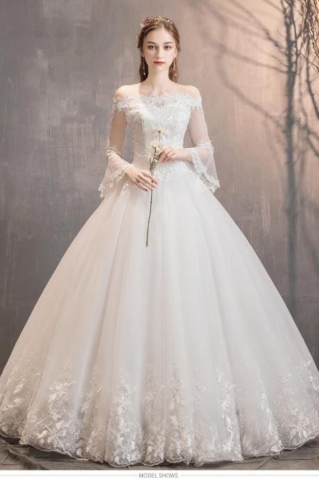 Women Bride Wedding Dresses Shoulder Long Sleeve Lace Cathedral Wedding Dress