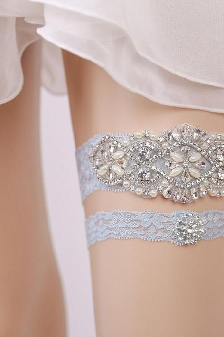 Bridesmaid's leg ornaments rhinestone blue lace leg ring European and American bridal garter garter