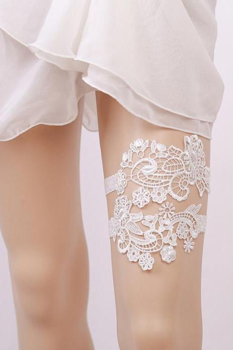 Bridal decoration White lace garter belt Bridesmaid leg ring leg ring European and American bride garter