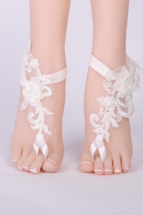 Bridal accessories, lace anklets, wedding accessories, Wedding Barefoot Sandals, Lace Anklets Wedding, Prom Party Bangle