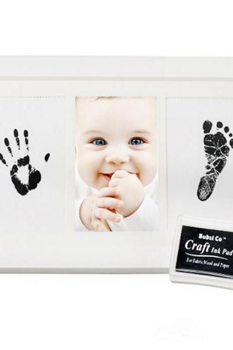 Baby Handprint Footprint Picture Kit – with Premium Photo Frame, Safe Ink Stamp Pad,Newborn Baby Shower Gift Idea