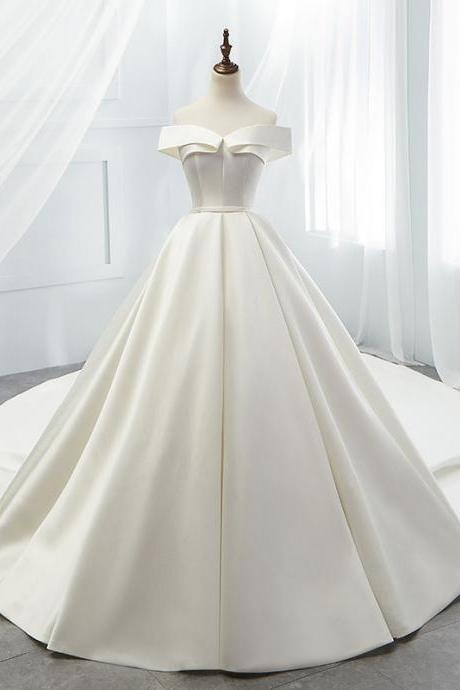 One Shoulder Wedding Dress Simple Trailing Satin Wedding Dress