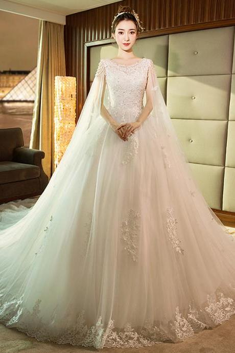 Women Wedding Dress French Retro Lace Cathedral Wedding Dress