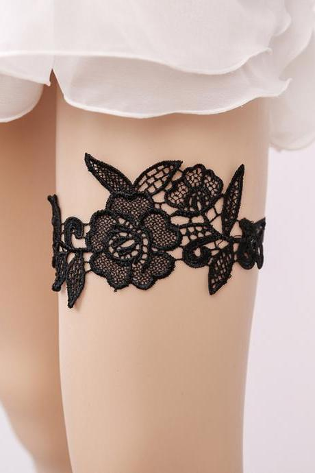 Wedding Accessories Black Lace Leg Ring Princess Sexy Thigh Ring Bridal Garter Garter