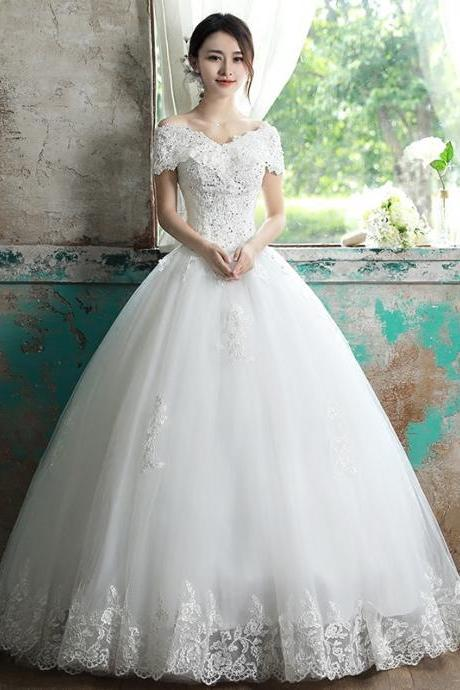 Wedding dress Korean version of the bride's shoulder simple bride dress