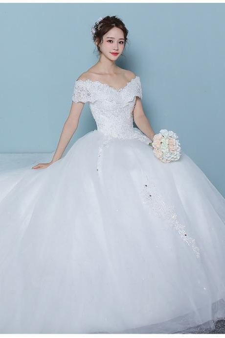 Wedding Dress for Bride Lace Bridal Dress Bride Dresses with Long Train