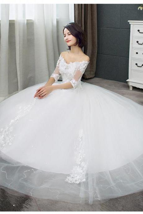 Wedding Dress Korean Version Of The Word Shoulder Bride White Lace Wedding Dress