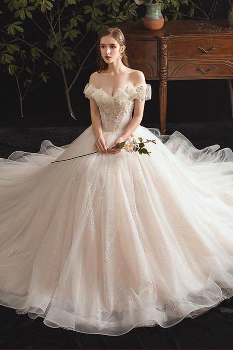 Wedding Dress Word Shoulder Luxury Trailing Wedding Bridal Dress