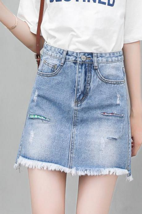 Women's Casual Mid Waisted Washed Frayed Pockets Denim Jean Short Skirt