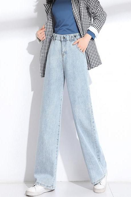 Women's wide-leg jeans retro high waist draping slimming straight trousers