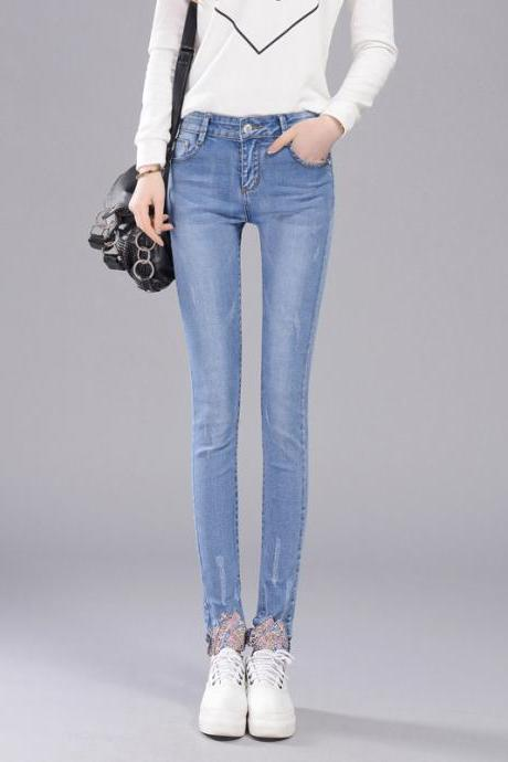 Women's mid-waist jeans pencil pants Korean version was thin elastic casual pants
