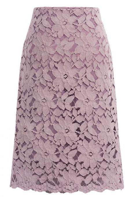 Women High Waist Lace Floral Midi Skirt Extender with Lace Trim