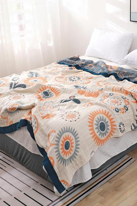 Six-layer gauze towel quilted cotton blanket summer thin air conditioner siesta blanket summer cool quilt
