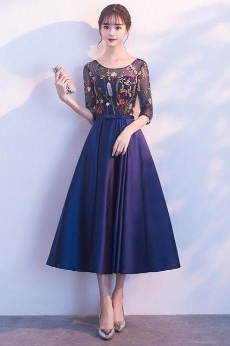 Women's banquet evening dress blue mini dress dress