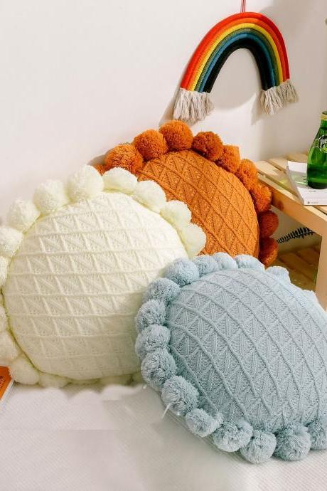 Knitted cushion Nordic design knitted sofa cushion hollowed cushion(2 pieces)