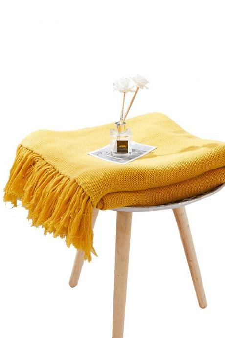 Fringed knitted blankets, sofa blankets, office air-conditioning blankets