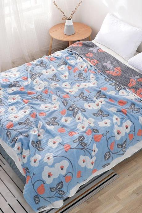 Bedding Six-layer Yarn Pure Cotton Blanket Quilt Air Conditioning Blanket(78x90inch)