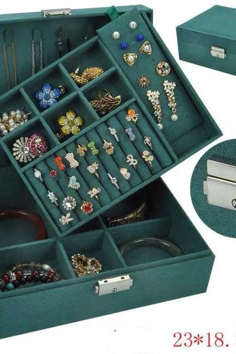 Jewelry Box for Women, Double Layer Necklace Jewelry Organizer with Lock Jewelry Holder for Earrings Bracelets Rings - Green