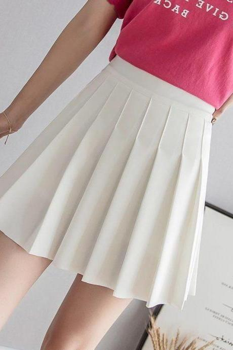 Women's Simple High Waist All Around Pleated A-Line Skirt Pure color skirt