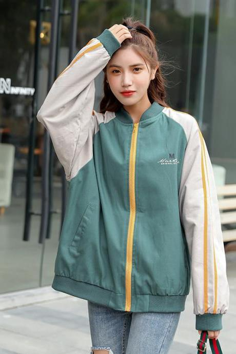 Women's Retro baseball uniform color block bomber jacket