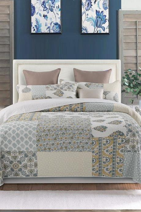 Bedding Washed cotton bed cover three-piece pure cotton hand-quilted quilt Summer air conditioning quilt