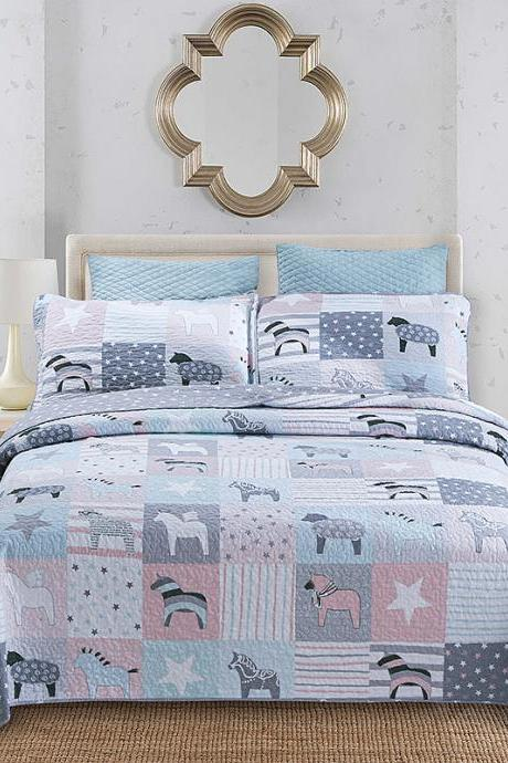 Three-piece Washable Summer Cool Quilt Bed Cover Air Conditioning Quilt Cartoon Pattern Cotton