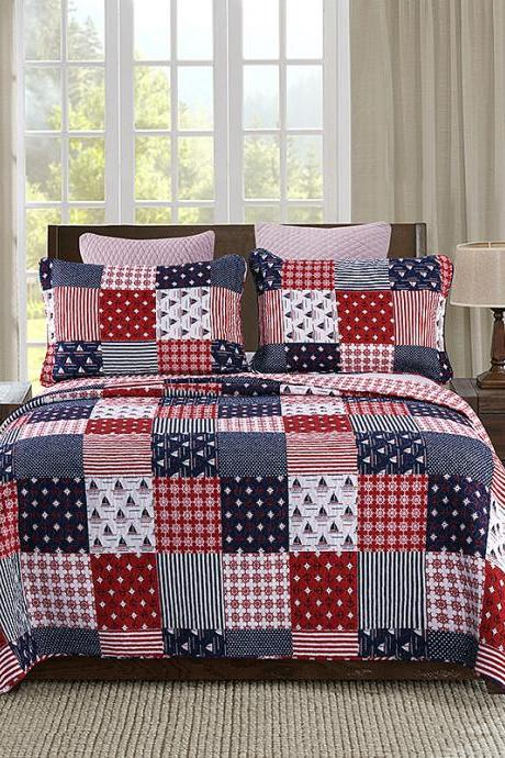 Three-Piece Washable Cotton Print Set, Lightweight Coverlet Design for Spring and Summer, 1 Quilt and 2 Pillow Shams