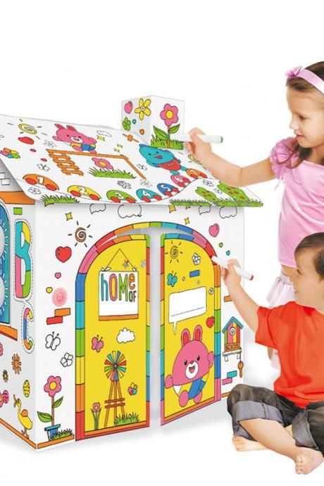 Cardboard Playhouse for Kids with Markers to Color Creatology Gift for Children Paper House for Toddlers